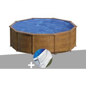 Gre Kit piscine acier aspect bois Sicilia ronde 4,80 x 1,22 m + Tapis de sol