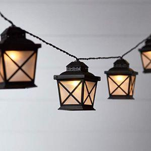 Lights4Fun Guirlande Lumineuse Solaire avec 10 Lanternes à LED Blanc Chaud