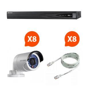 Hik vision KITNVR8BULL - Kit de vidéosurveillance NVR avec 8 mini caméras HD