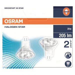 Osram Lot de 2 ampoules Star halogènes, 38°,G4 Lot de deux ampoules Star Halopar culot G4/20W- 44890 ST WFL BLI2