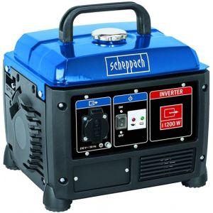 Scheppach Groupe électrogene inverter 1200 W SG1200 - Moteur à 4 temps - Puissance nominale/maximale : 1000 W / 1200 W - Tension : 230 V.
