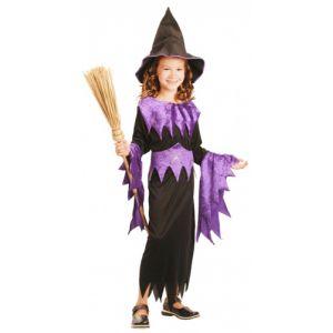 Déguisement sorcière fille violet Halloween