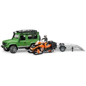 Bruder Toys 2594 - Land Rover Defender avec Remorque, Moto Neige et Conducteur