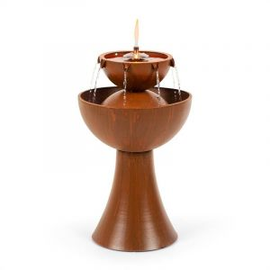 Blumfeldt Fontaine de jardin Hadrian avec lampe à huile 8W métal galvanisé couleur rouille