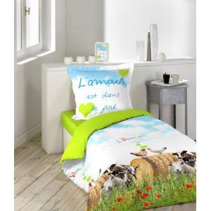 L'amour est dans le pré Amour de Cocotte - Housse de couette et taie 100% coton 42 fils (140 x 200 cm)