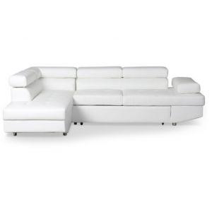 LesTendances Canapé d'angle gauche convertible avec têtières relevables simili cuir blanc Lanzo