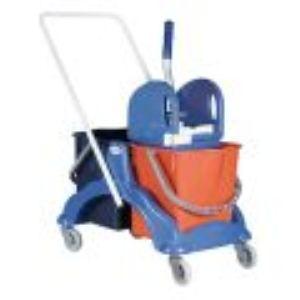 000597 - Chariot de lavage 2 x 15 L avec presse à mâchoires