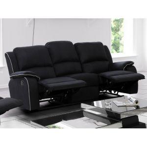 Canapé 3 places relax en microfibre HERNANI - Noir