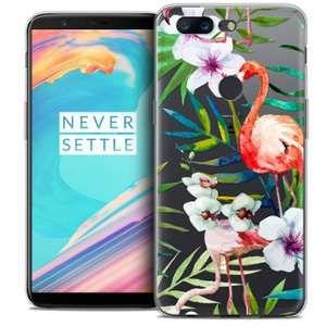 CaseInk Coque OnePlus 5T (6 ) Extra Fine Watercolor Tropical Flamingo