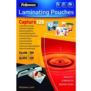 Fellowes 100 pochettes de plastification à chaud format 54 x 86 mm (125 µ)