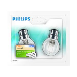 Philips 925648644205 - Ampoule Eco-Halogène Sphérique Culot B22 28 Watts consommés Equivalence incandescence 35W)