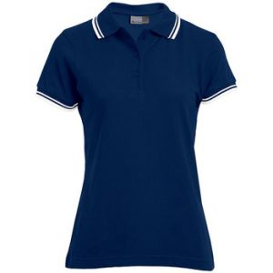 Promodoro Polo bandes contrastées grandes tailles Femmes, XXL, bleu marine