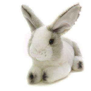 Anima Peluche Lapin gris-blanc couché 24 cm