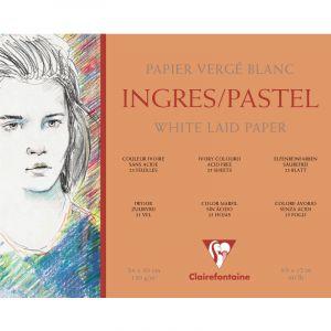 Clairefontaine 96483C - Bloc encollé de 25 feuilles de papier vergé Ingres Pastel, 130 g/m², 30x40