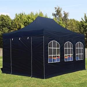 Intent24 Tente pliante 3x4,5 m avec fenêtres noir PROFESSIONAL tente pliable ALU pavillon barnum.FR