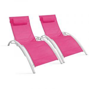Bains de soleil en aluminium et textilène Rose - BOUTIQUE JARDIN