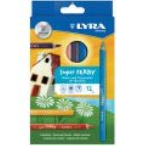 Lyra 890K12 - 12 Crayons de couleur Super Ferby assortis