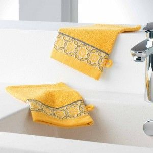 Gants de Toilette Eponge Unie Jacquard Adelie, Coton, Miel, 21x15 cm