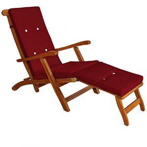 Deuba Detex Coussin pour chaise longue 173 cm - Matelas Transat Bain de soleil Jardin ROUGE
