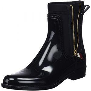 Tommy Hilfiger Material Mix Rain Boot, Bottes & Bottines de Pluie Femme, Noir