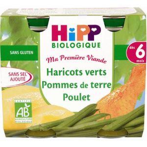 HiPP Biologique Ma première Viande : Haricots verts Pommes de terre Poulet 2 x 190g - dès 6 mois