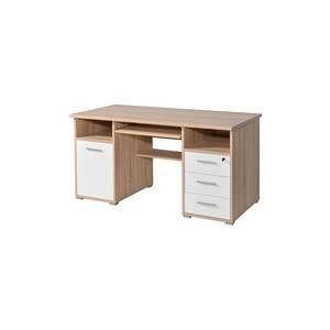 5ee4589cd16 Bureau informatique avec caisson tiroirs niches en bois L145xH75cm PRIMA  Chêne Blanc