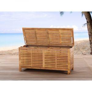 Beliani Riviera - Coffre en bois à coussins de jardin