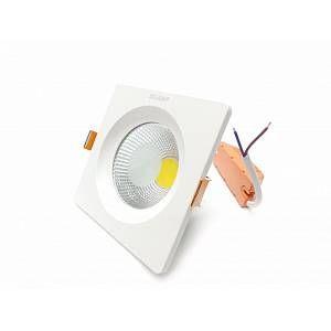 Silamp Downlight Spot LED COB Carré 20W 130mm - couleur eclairage : Blanc Neutre 4000K - 5500K
