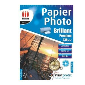 Micro application 20 feuilles de papier photo Premium 235g/m² (A4)