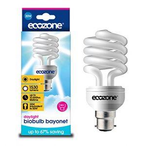 Ecozone Biobulb Ampoule Basse Consommation, Baionnette B22 - économie: 20W Equivalant à une Ampoule Incandescente 60w - 1530 Lm - Blanc Jour 6400k - Économie d'énergie supérieure à 68%, idéal pour les personnes souffrent de troubles affectifs saisonniers