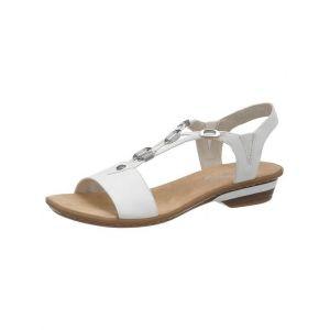 Rieker 63453 Femme Sandale à lanières,Sandales à lanières,Chaussures d'été,Confortables,weiss/80,38 EU / 5 UK
