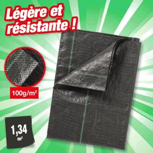 Nature Feutre géotextile noir en polypropylène tissé 100gr/m² 1,34x1,34m