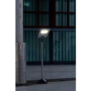 Lutec Lampadaire solaire MINIS LED Chrome, Noir, 3 lumières Moderne Extérieur MINIS