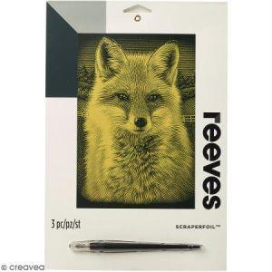 Reeves Carte à gratter Junior Dorée Renard - 26 x 21 cm