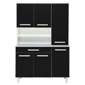 Les meubles olivier Buffet de cuisine Sanson 3 avec 1 tiroir et 2 niches en panneaux de particules