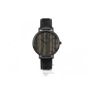 Pierre Lannier Montre 241D483 - Boîtier acier gris poli verre sérigraphié gris cadran bois noir index noir Homme