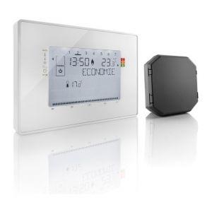 Somfy 2401244 - Thermostat Fil Pilote avec Récepteur Radio - Programmateur Radio pour Radiateurs Electriques Fil Pilote - 4 Zones Possibles - Compatible Tahoma