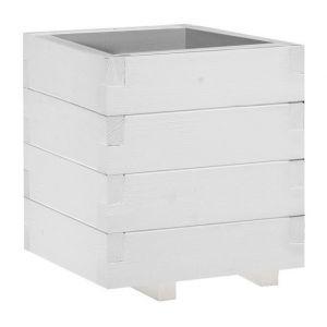 Jardinière Domino simple - 30,5 x 30,5 x 40 cm - Lasuré en blanc