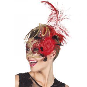 Demi Masque Vénitien Transparent Et Rouge adulte,