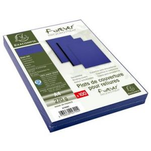 Exacompta 2790C - Paquet de 100 plats FOREVER, carte 270 g/m², grain cuir, coloris bleu foncé