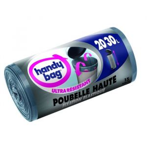 Handy Bag sacs a poignées coulissantes, fixation elastique poubelle haute, 20-30L - Le rouleau de 15 sacs