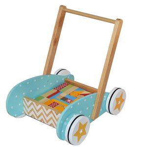 BeToys Chariot de marche + Jeu de construction en bois 40 blocs