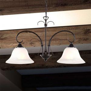 Globo Lustre suspension luminaire plafond lampe métal ancienne optique albâtre blanc