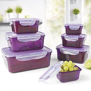 Gourmet Maxx 03305 Boîtes de rangement pour aliments Klick-it set | Aroma protection hermétique | 14 parties | Convient pour micro-ondes, congélateur et lave-vaisselle transparent, violet sans BPA