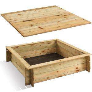 Jardipolys Bac à sable carré en bois avec couvercle (120 x 120 cm)