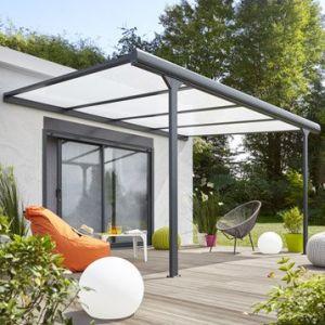 Pergola aluminium adossée Braga gris anthracite 12 m²