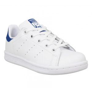 Adidas Stan Smith cuir Enfant-31-Blanc Bleu
