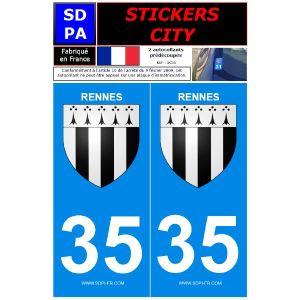 """SDPA SC35 - 2 autocollants pour plaque d'immatriculation """"Rennes"""""""