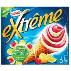 Nestlé Extrême - Cônes sorbets citrons framboise