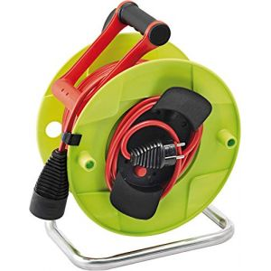 Brennenstuhl Enrouleur Electrique Standard pour Jardin 38,5m + 1,5m (H05VV-F 3G1,5, IP20, poignée cablepilot, vert, garantie 3 ans), Fabrication Française